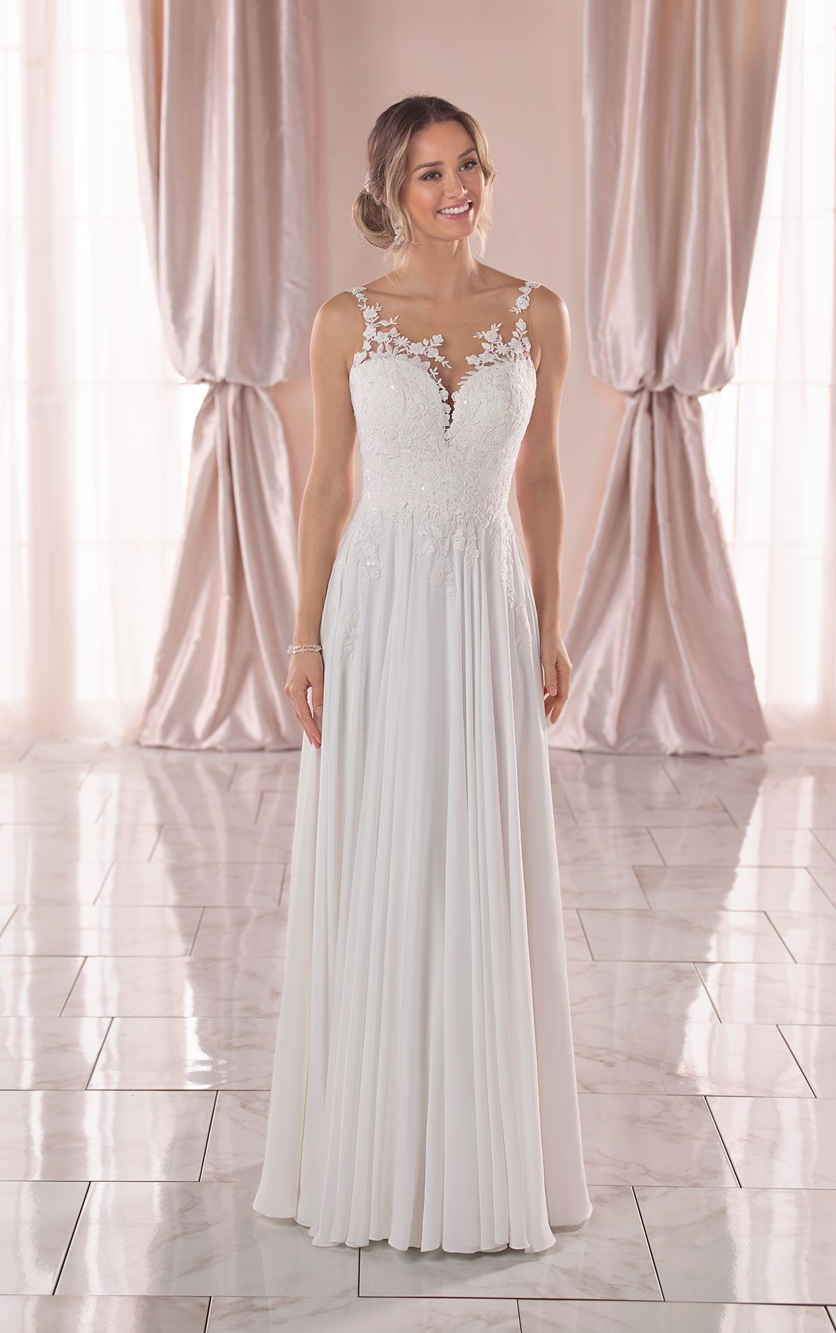 Crepe Chiffon Wedding Dress With Asymmetrical Neckline Stella York Wedding Dresses Stella York Wedding Dress York Wedding Dress Chiffon Wedding Dress