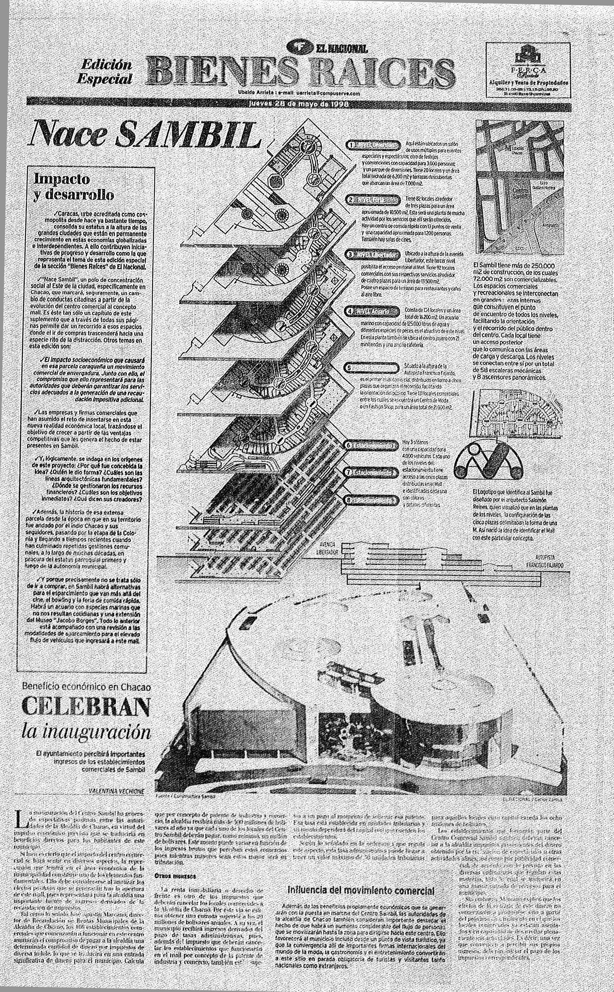 Inauguracion Del Sambil Publicado El 28 De Mayo De 1998 Sheet Music