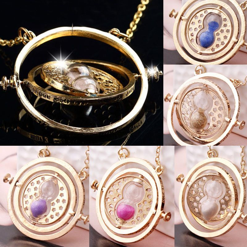 New Fashion Womens Time Turner Necklace Rotating Spins Gold Hourglass Gold Chain #UnbrandedGeneric #Necklace