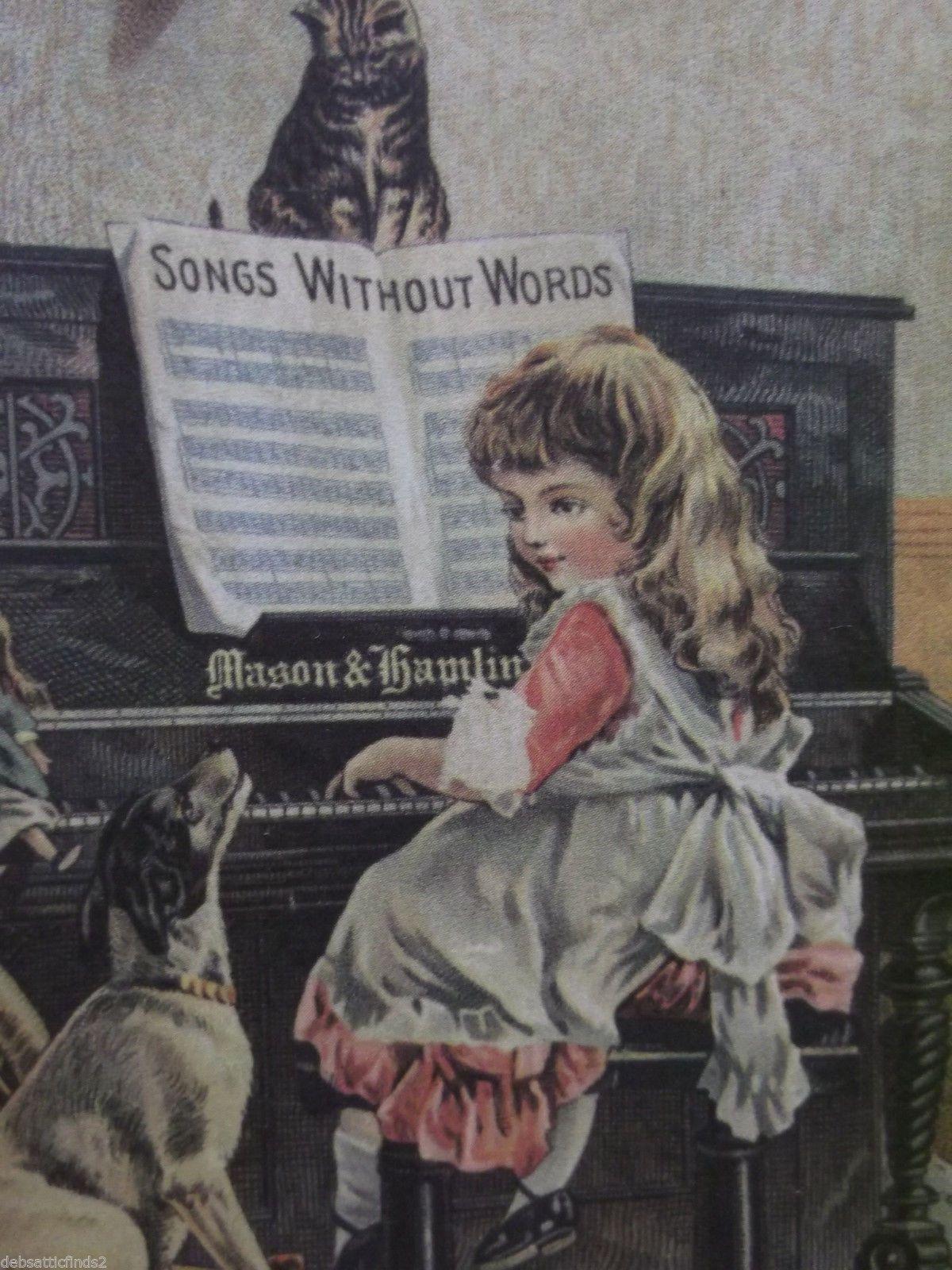 Girl Playing Piano Cat Dog Doll RARE Victorian Trade Card
