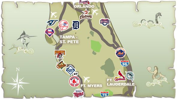 Florida Grapefruit League map Grapefruit League