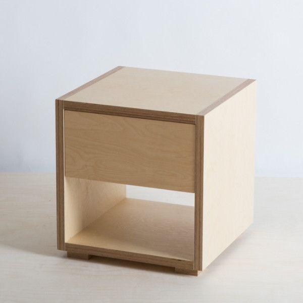 Plywood bedside table cabinet with drawer – The Plywood Box Co ...