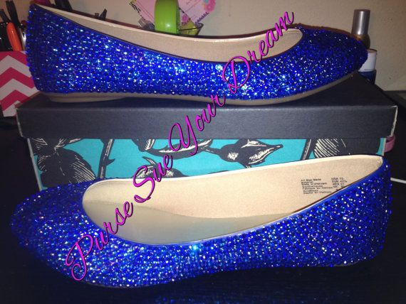 Swarovski Crystal Royal Blue Bridal Ball Flat By PurseSueYourDream. Bridal  Shoes, Something Blue,