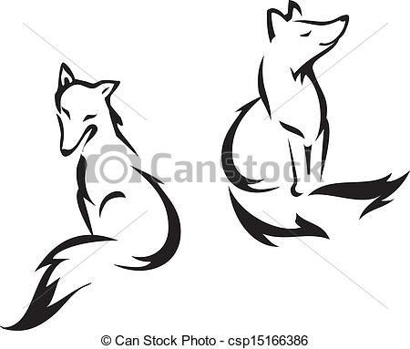 Vector Of Sitting Fox Fox Outline Graphic Vector Illustration Kunst Ideeen Vos Tatoeages En Illustrator