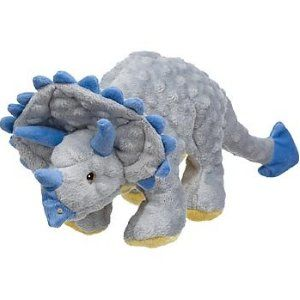 Godog Frills The Triceratops Dog Toy With Chew Guard Gray Plush