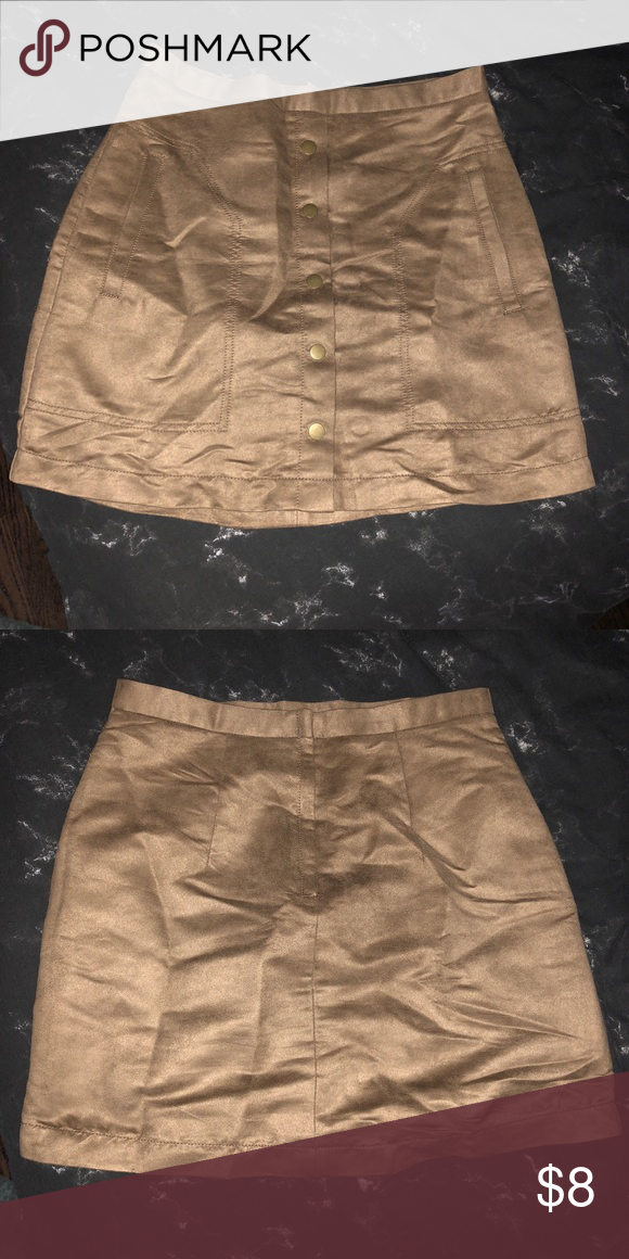 888b8d0cd720 H M Suede front button skirt