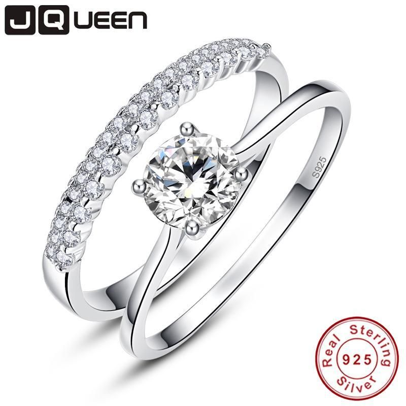 JQUEEN 0.9 Carat Round Cut Ring Set Solid 925 Sterling Silver Bague 2pcs Engagement Wedding Bridal Ring Set Jewelry With Box – 6 / 925 silver ring