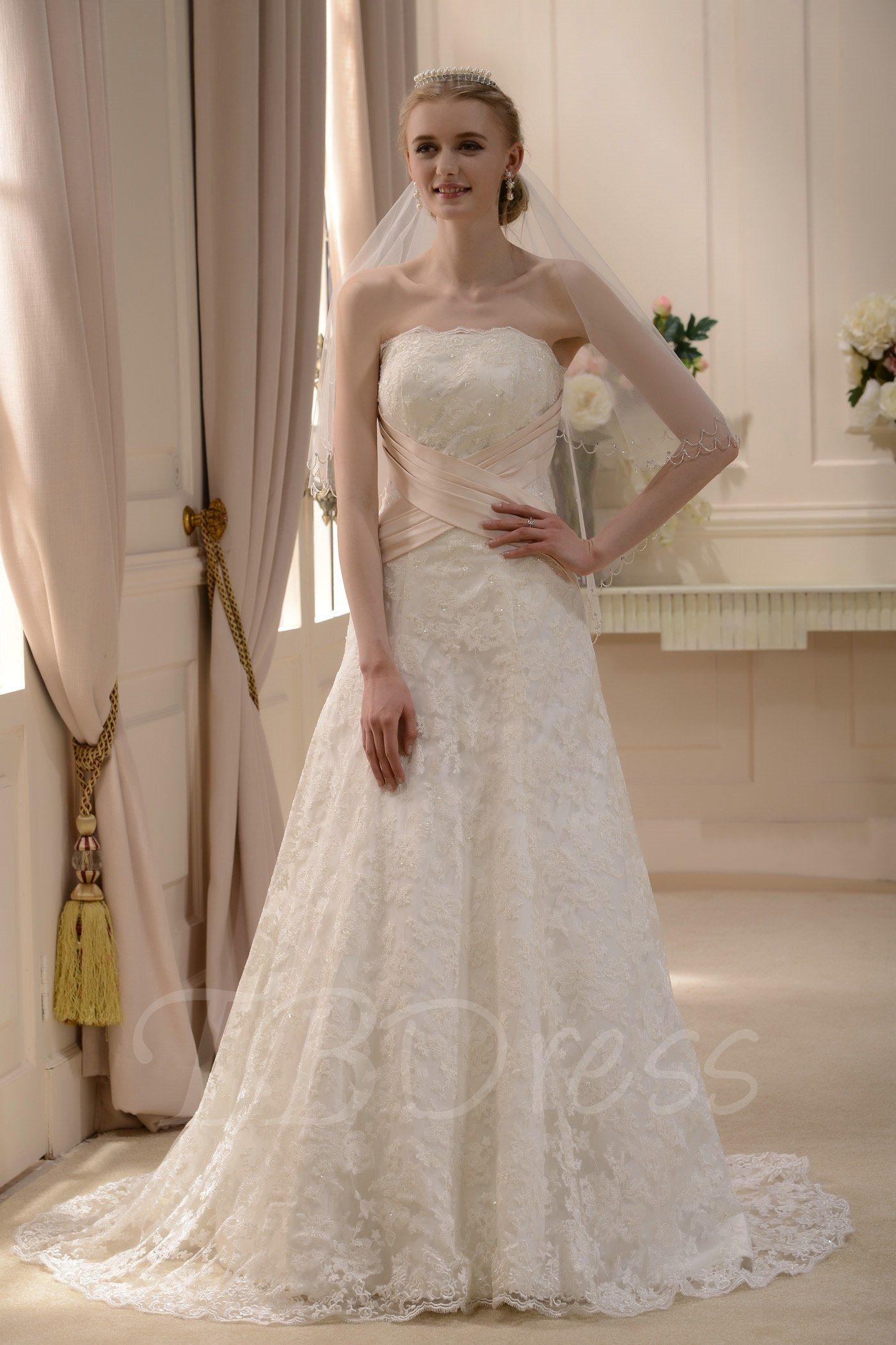 Elegant wedding dresses for mature brides  Slight ALinePrincess Strapless Court Train Wedding Dress