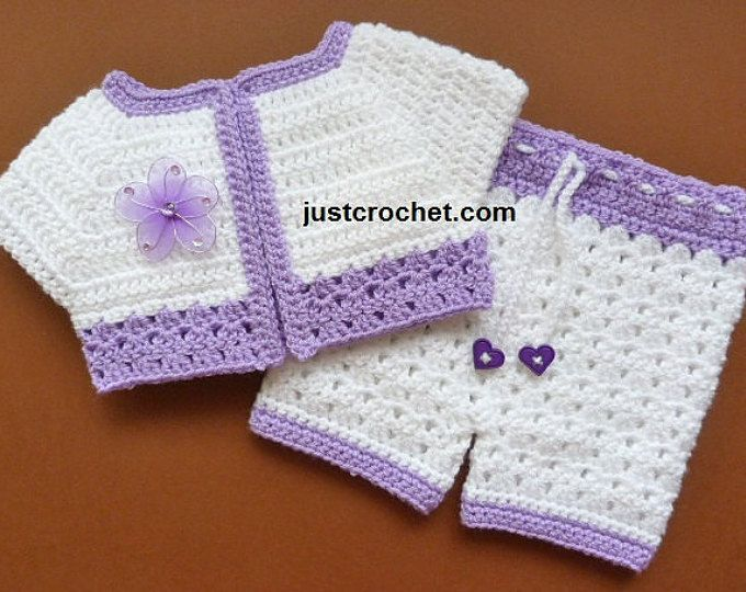 Short Jacket and Pants Baby Crochet Pattern (DOWNLOAD) FJC83 | ajuar ...