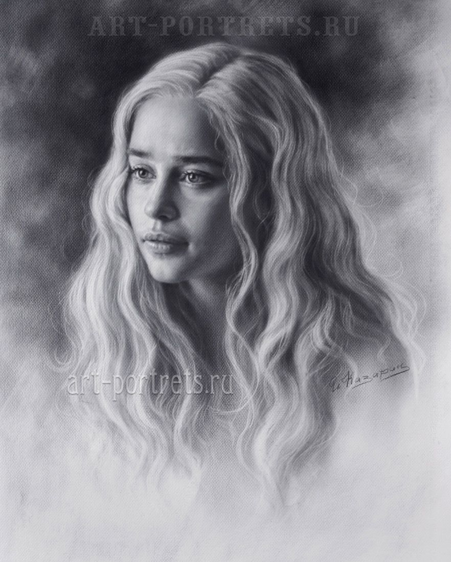 Lovely Emilia Clarke Portrait Drawing by Igor Kazarin. The Khalessi Mother's Dragons #drybrushpainting #khalessi #drybrush #blackandwhite #commissiondrawing #portraitcommission #drawing #portrait #drawingportrait #girldrawing #girlportrait #beautygirl #emiliaclarke