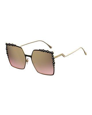 be79cda0ffaef Fendi Can Eye Studded Oversized Square Sunglasses