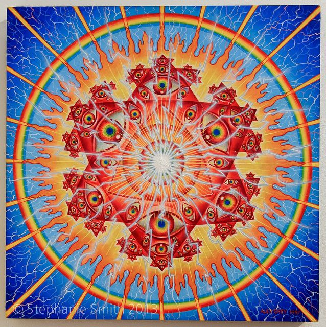 Alex Grey S Original Vision Crystal Mandala Painting Alex Grey Paintings Grey Artwork Alex Grey