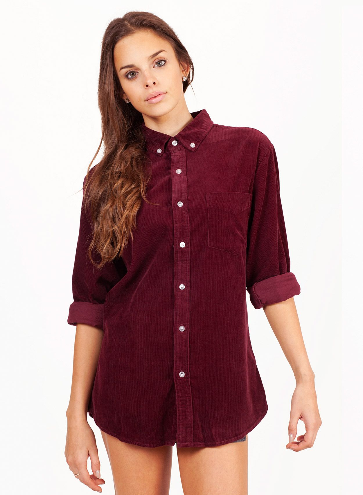 Shop Women's Oversize Burgundy Cord Shirt. Buy retro & indie ...