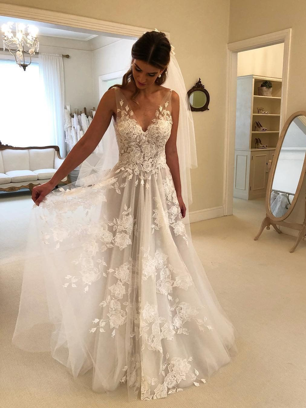 Wedding dresses v neck  Sexy See Through Beach Wedding Dresses V Neck Bridal Dress with Slit