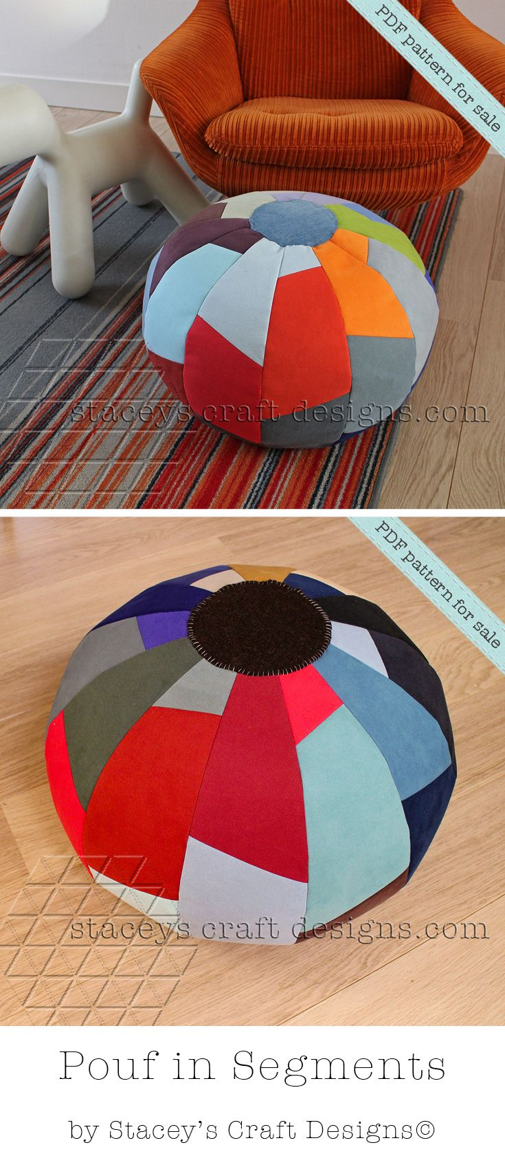 Pouf In Segments Pdf Pattern By Stacey S Craft Designs Kussings