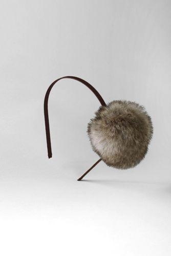 Girls' Faux Fur Pom Pom Headband from Lands' End