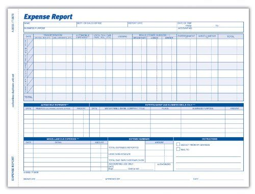 Adams Weekly Expense Report Forms, 2-Part Carbonless, White Canary - expense report