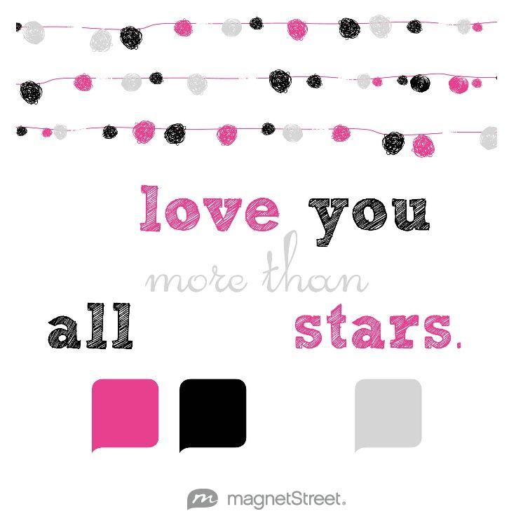 Azalea, Black, White, and Silver Wedding Color Palette - free custom artwork created at MagnetStreet.com
