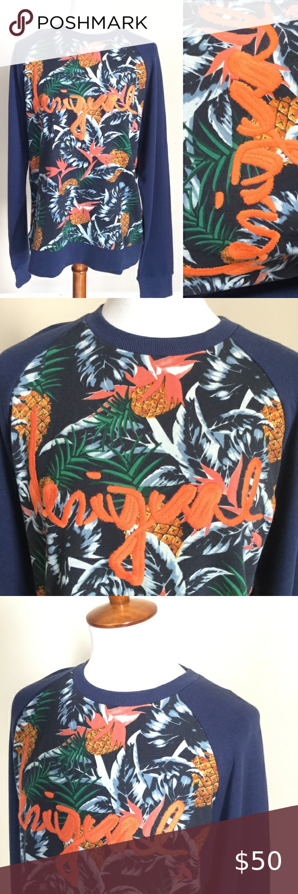 Spotted while shopping on Poshmark: DESIGUAL Pineapple Tropical Embroidered Sweatshirt! #poshmark #fashion #shopping #style #Desigual #Tops