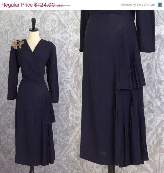 Vintage 1940s Dress 40s Dress 1940s Cocktail Dress Womens 1940s Party Dress Navy Blue Dress Size Large by SassySisterVintage on Etsy https://www.etsy.com/listing/223193345/vintage-1940s-dress-40s-dress-1940s