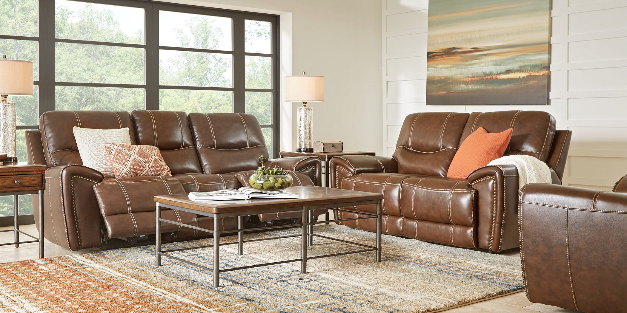 Italo Brown Leather 2 Pc Living Room With Reclining Sofa Living Room Sets Furniture Living Room Leather Furniture