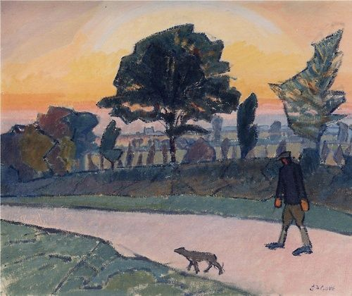 Spencer Frederick Gore, Sunset, Letchworth, with Man and Dog, 1912