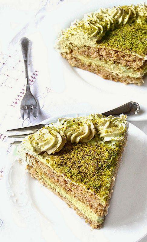 Pistachio Sponge Cake With Rum Mascarpone Cream