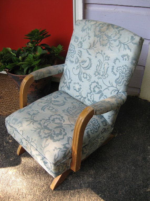 Vintage Children S Upholstered Rocker Chair By Almasvintage Vintage Rocking Chair Upholstered Rockers Rocker Chairs