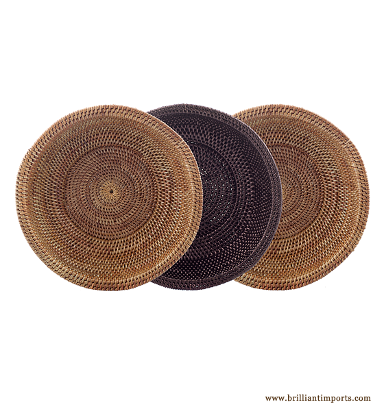 Set Of Three Bowls Sand Coffee And Black Mimbre
