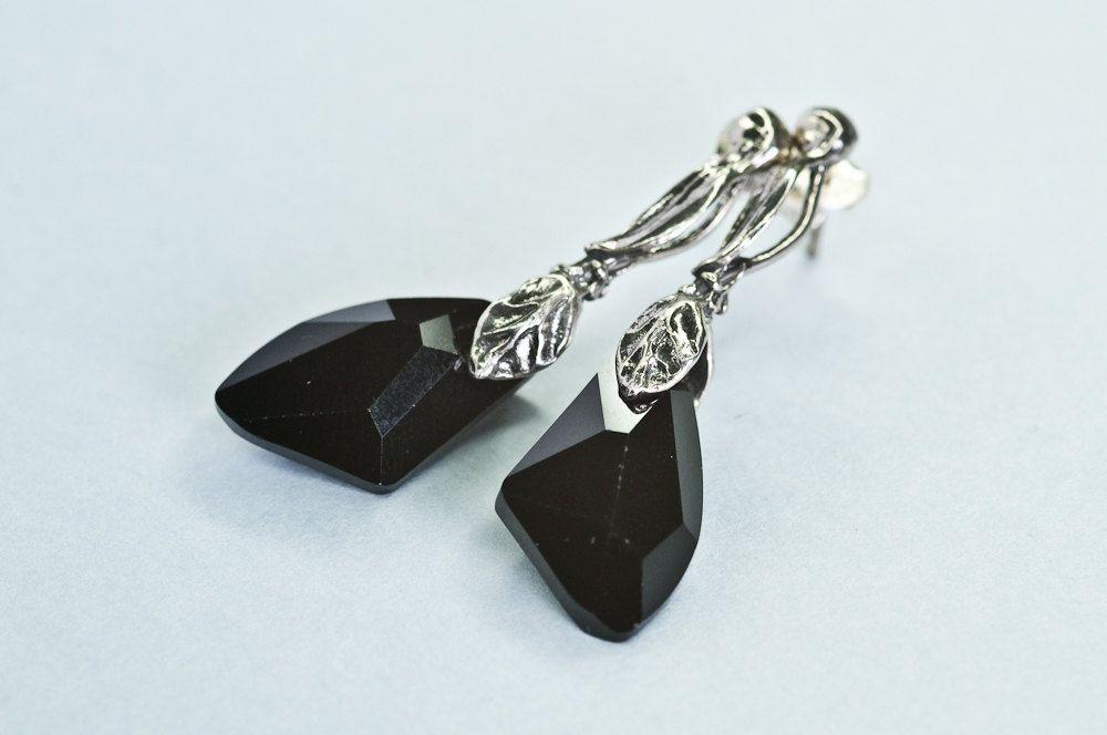 Black Crystal Earrings Elegant Glamour Short Post Stud Valentine Gift For Her