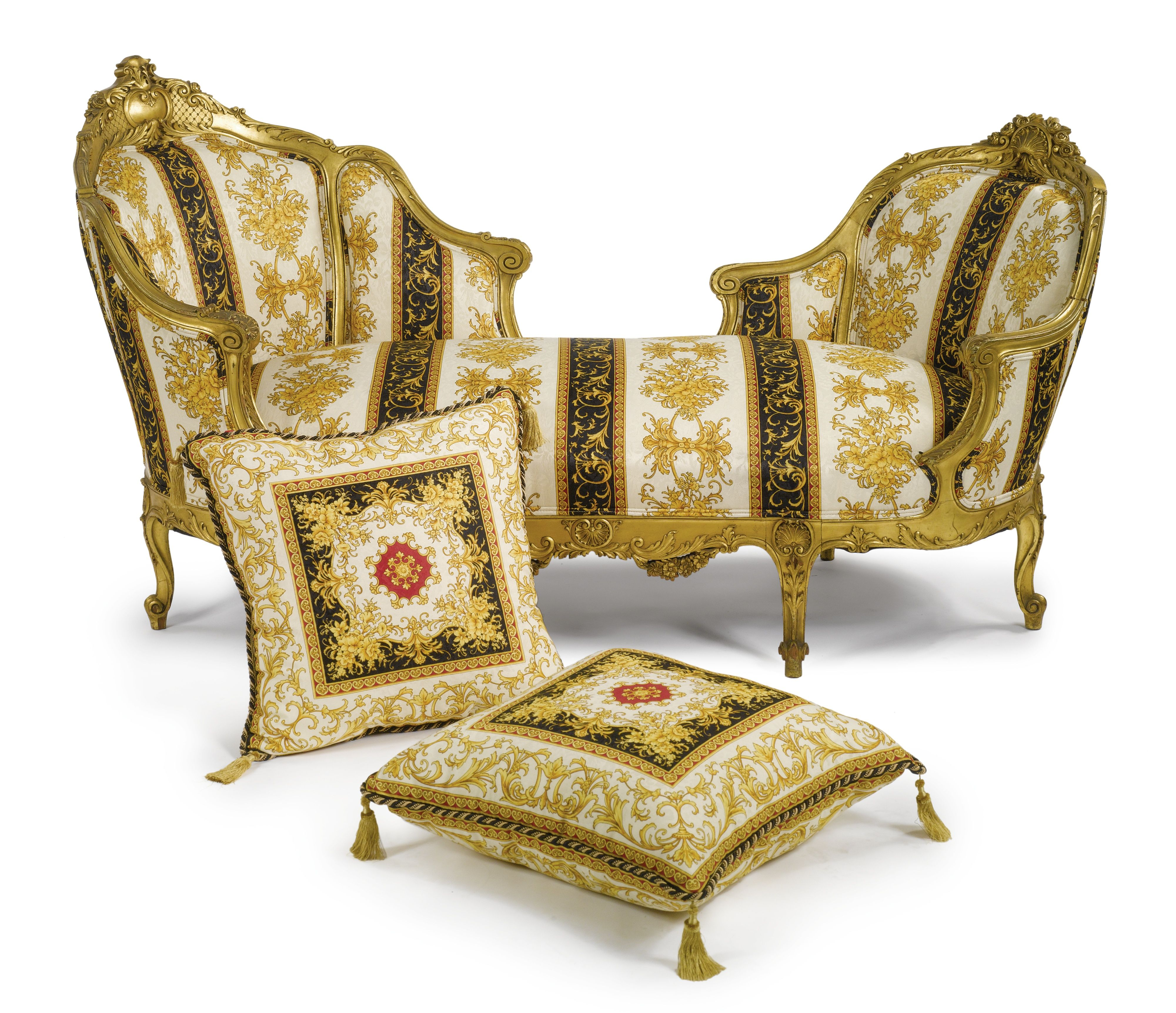 A Gianni Versace Fabric Upholstered Carved Giltwood Sofa Furniture Funky Furniture Universal Furniture