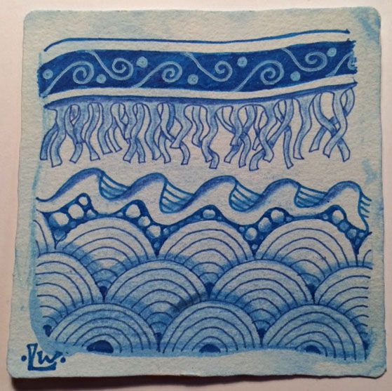 Tangles: Lamar, Sea Weed Border, Wavy Border, Scales    Water.  There are quite a few tangles based on water and I sure had fun trying the...