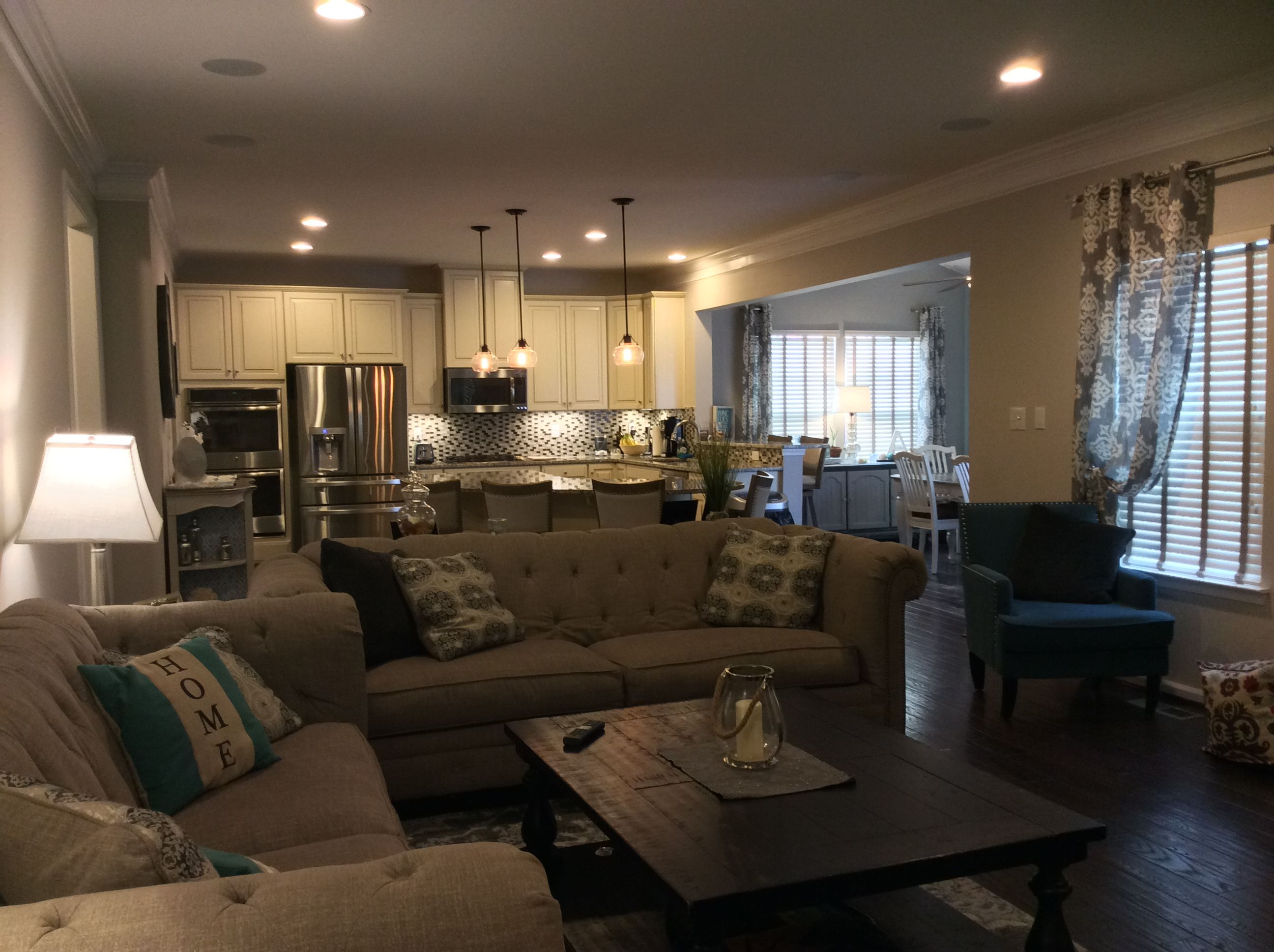 Ryan homes Rome model family room kitchen and morning