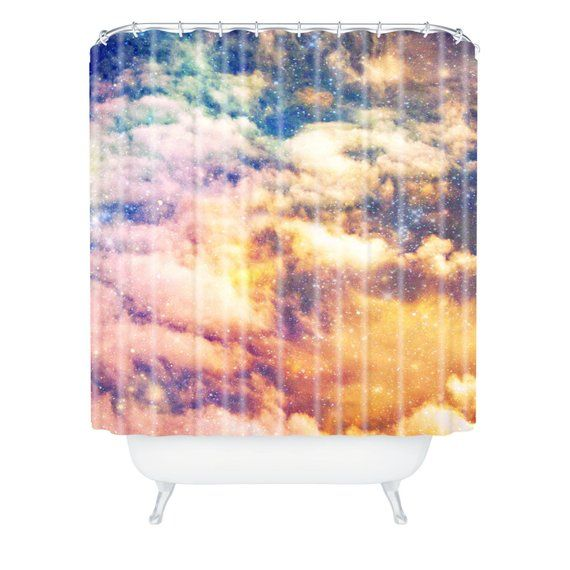 Shower Curtain Girly Bathroom Starry Night Sky Colorful Art Pink Orange Purple Blue Space Home