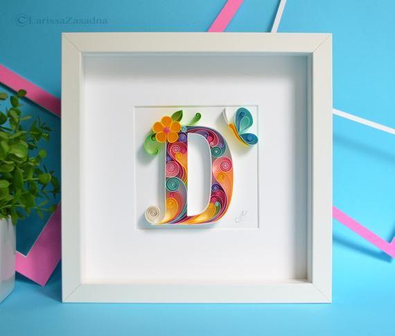 D Quilling Wall Paper Art Custom Framed Monogram Etsy In 2020 Paper Art Quilling Quilling Art