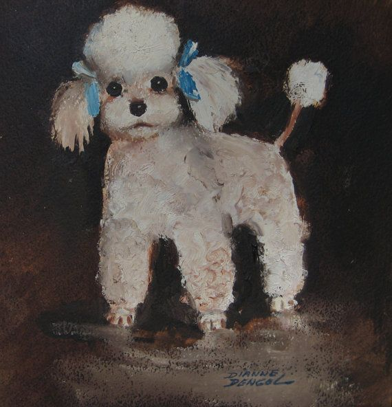 Vintage French Poodle Painting By Dianne Bengol White Poodle Blue Bows Wooden Frame Dog Lover Instant Pet Dog Paintin Wine And Canvas Vintage Painting Painting