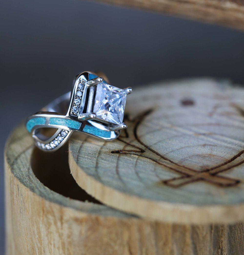 turquoise wedding band ring