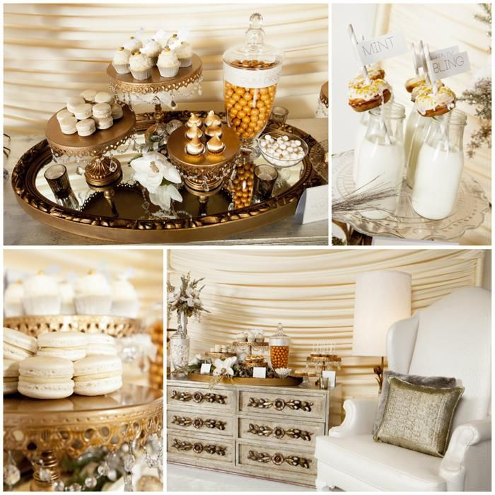 BEAUTIFUL Metallic Holiday Dessert Table! Really Pretty Ideas via Kara's Party Ideas | KarasPartyIdeas.com #ChristmasParty #ElegantParty #newyearsparty
