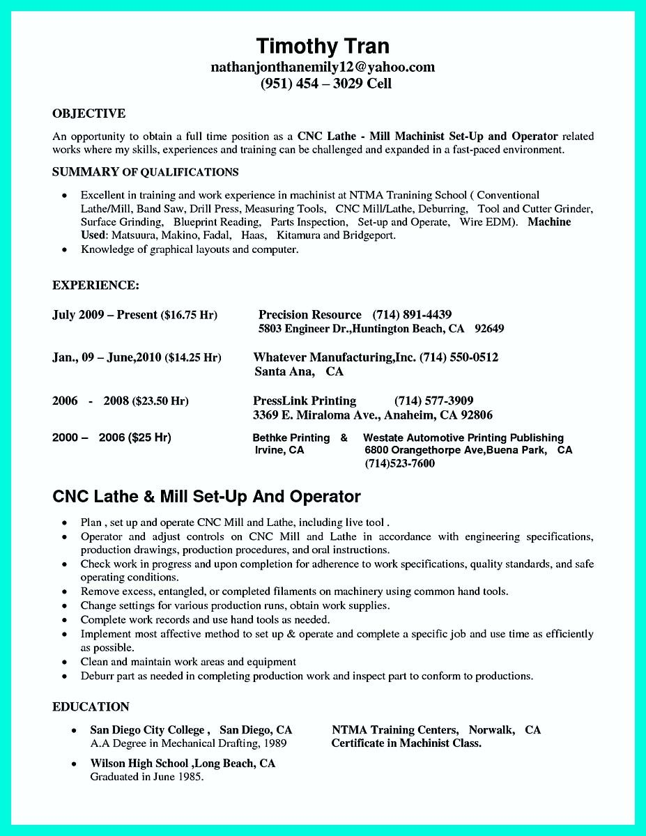 writing your qualifications in cnc machinist resume  a