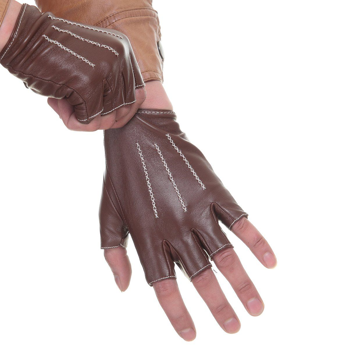 Leather gloves mens amazon - Cyrilus Authentic Men S Driving Lampskin Fingerless Leather Gloves 3 Lines Cym1314 M Brown