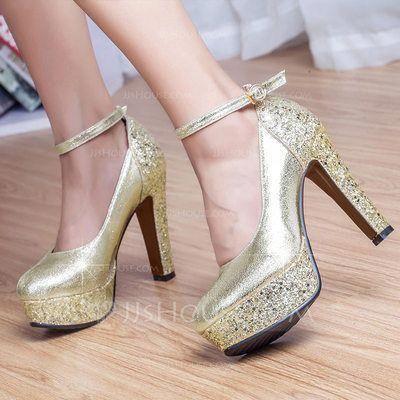 510cb65408c4 Women s Closed Toe Platform Pumps Chunky Heel Leatherette Sparkling Glitter  No Wedding Shoes  Platformpumps