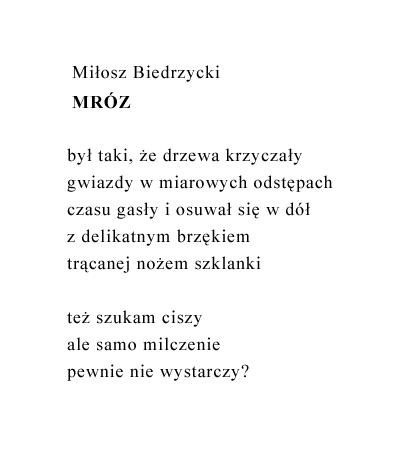 Miłosz Biedrzycki Mróz Wiersze Poezja Polska Wiersze