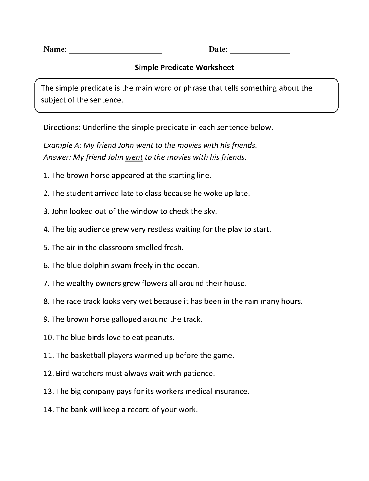 Simple Predicate Worksheet