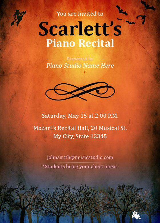 music recital invitation template