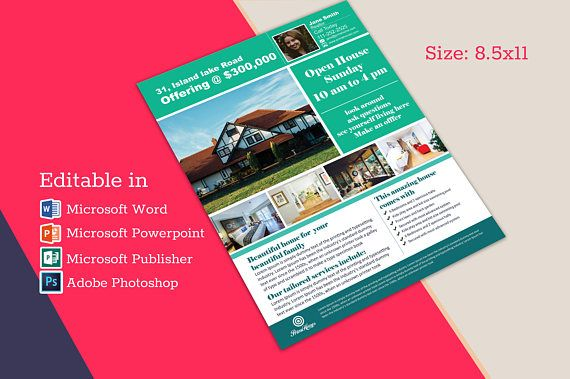 Real Estate Advertising Flyer Open House Template Editable In