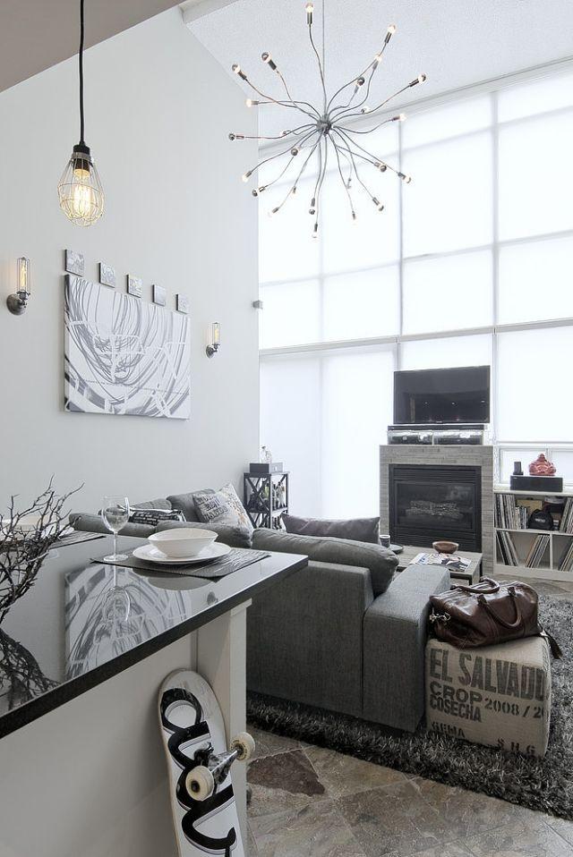 modernes-wohnzimmer-grau-weiss-stahl-haengeleuchten Wohnideen