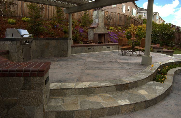 Marvelous Cement Slab Patio With Flagstone Border   Google Search