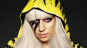 Who else but Lady Gaga? I like the stripe on her eye matching the hoodie.
