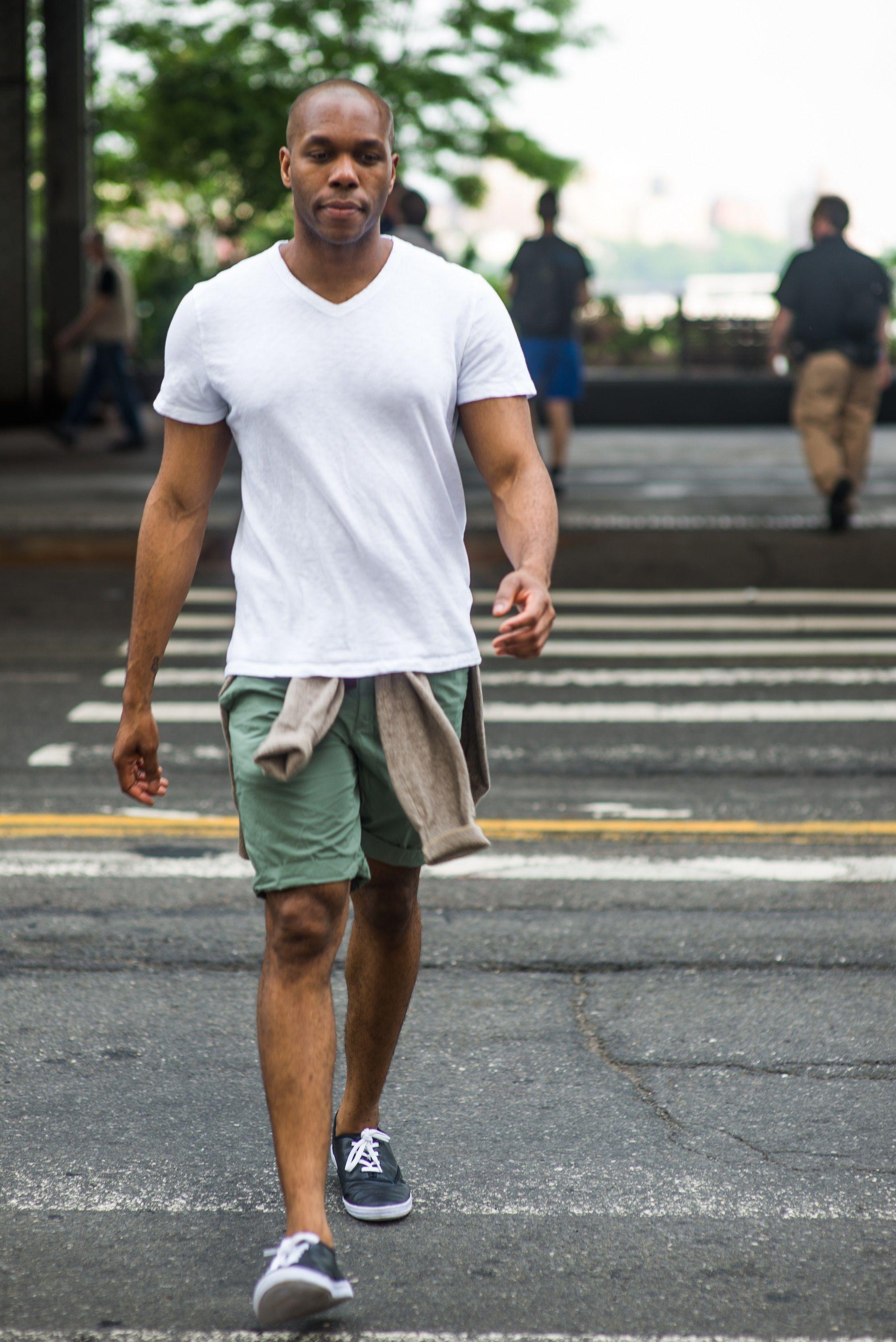Men's Beige Cardigan, White V-neck T-shirt, Olive Shorts, Black ...