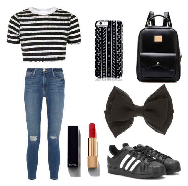 """""""Untitled #8"""" by crystaljennifer on Polyvore featuring Topshop, Frame Denim, adidas, Savannah Hayes and Chanel"""
